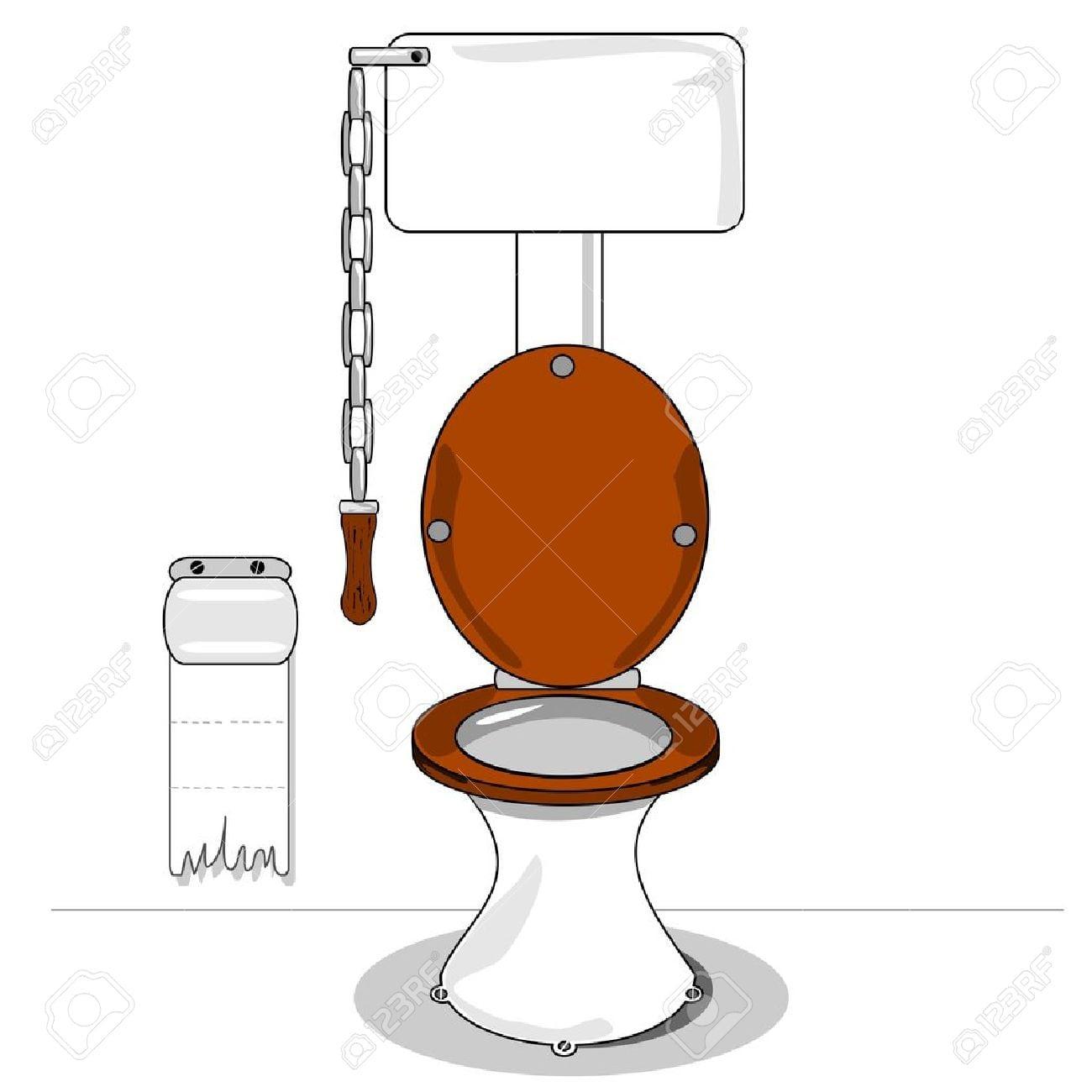 Um Vaso Sanitário Dos Desenhos Animados Com Assento De Madeira E