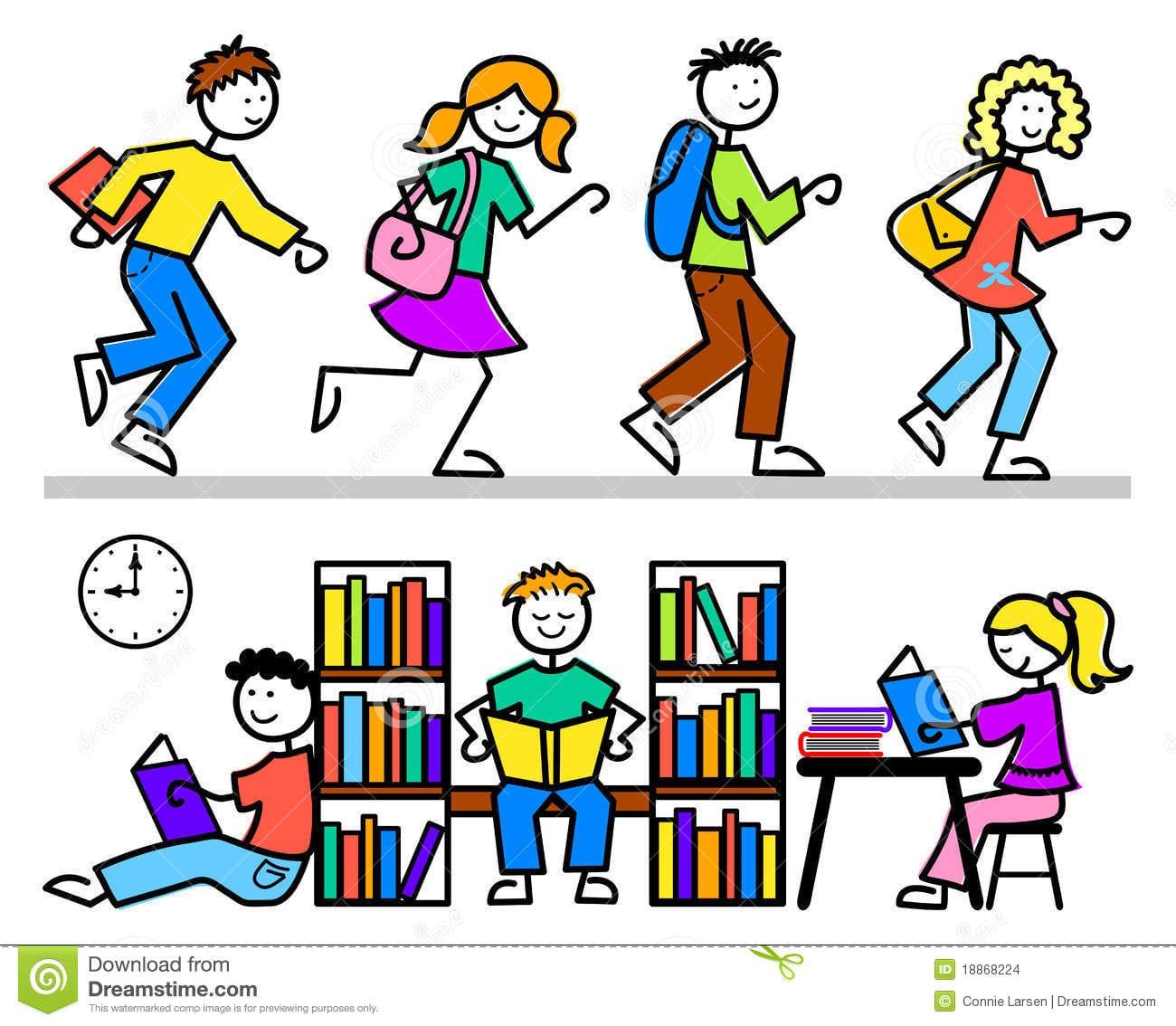 A Escola Dos Desenhos Animados Caçoa A Biblioteca Imagens De Stock