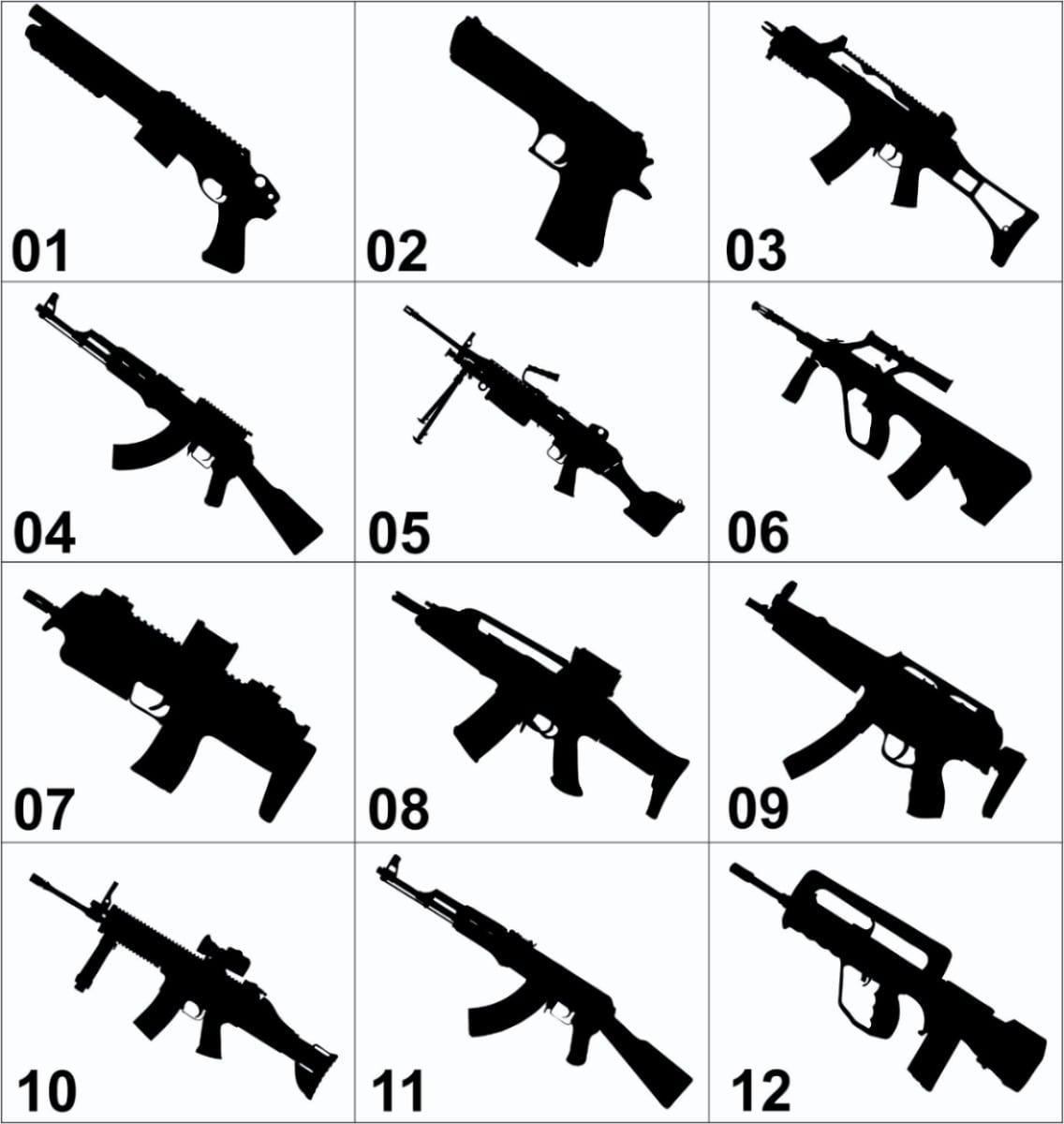 Adesivo Decorativo De Parede, Desenhos De Armas Iradas