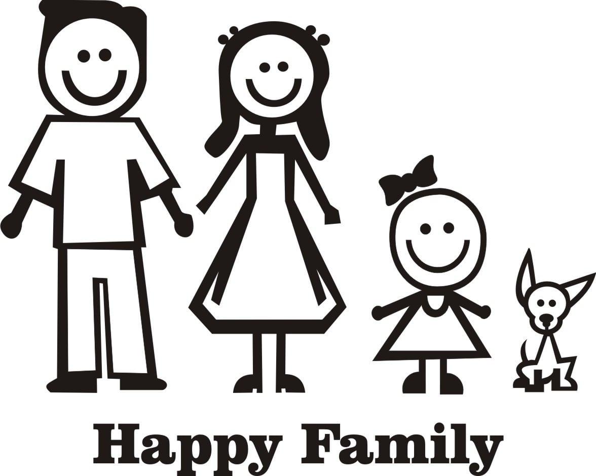 Adesivo Família Feliz Escolher 4 Desenhos Frete Grátis