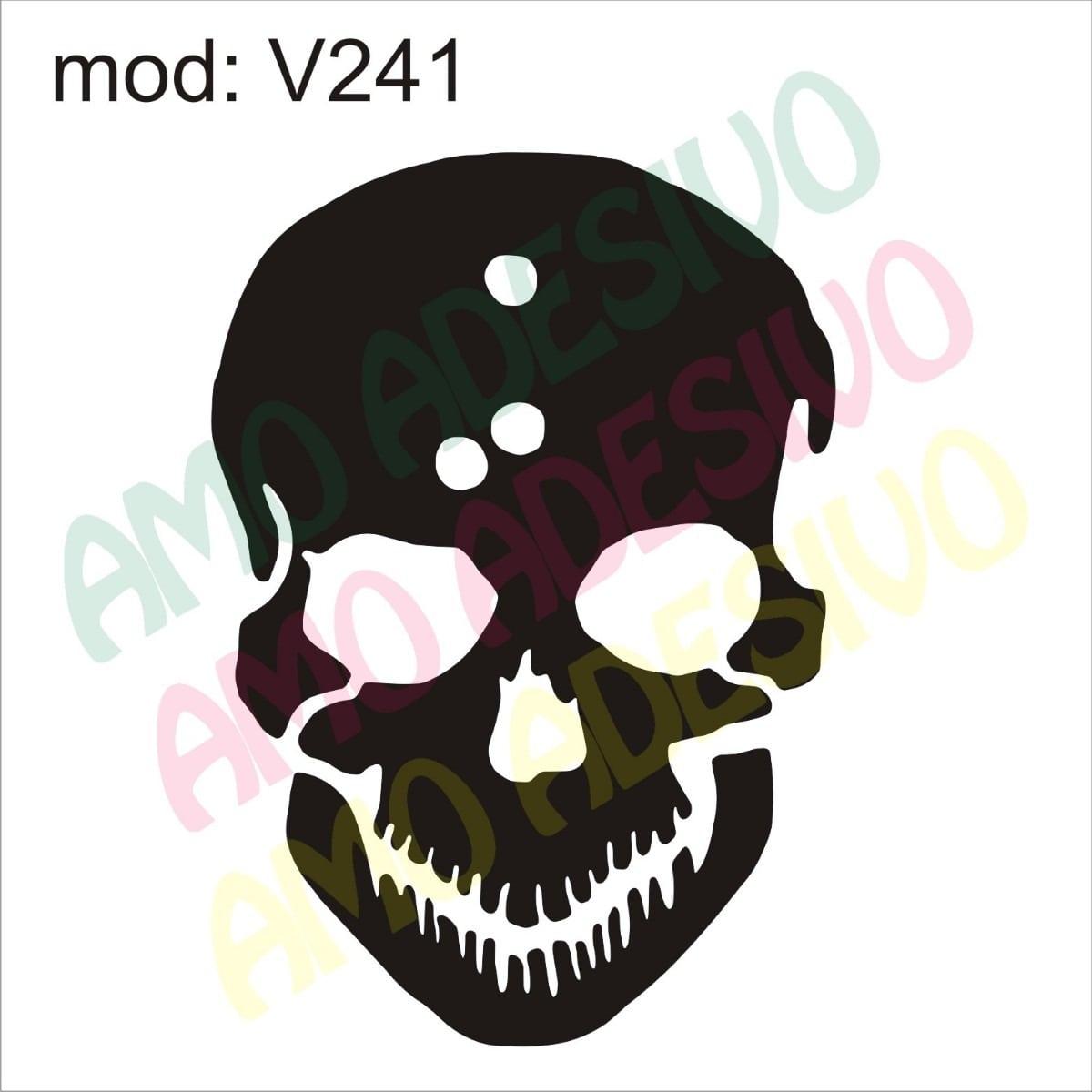 Adesivo V241 Desenho Abstrato Caveira Rock Punk De Parede