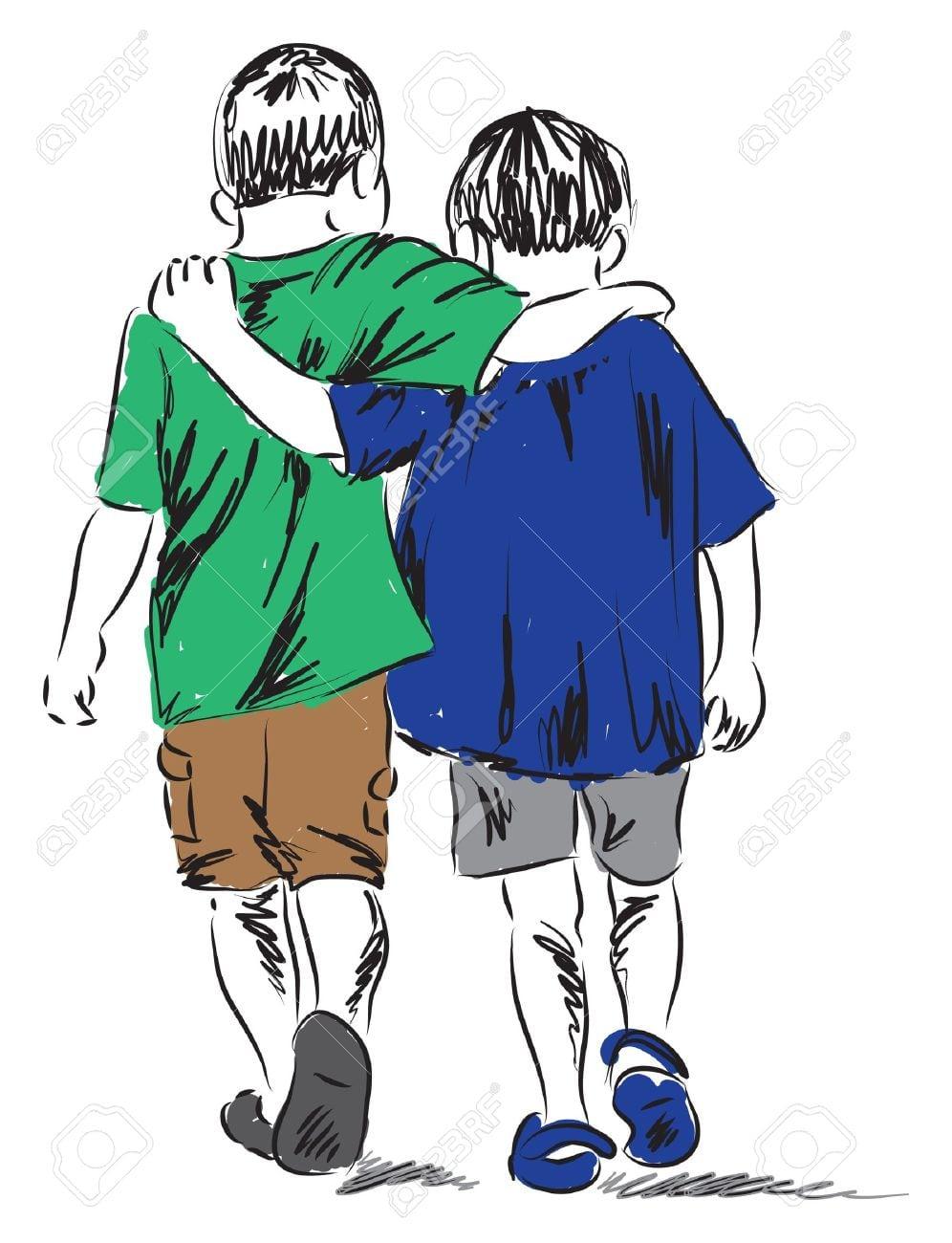 Amigos Dois Garotos Caminhando Juntos Ilustra Royalty Free