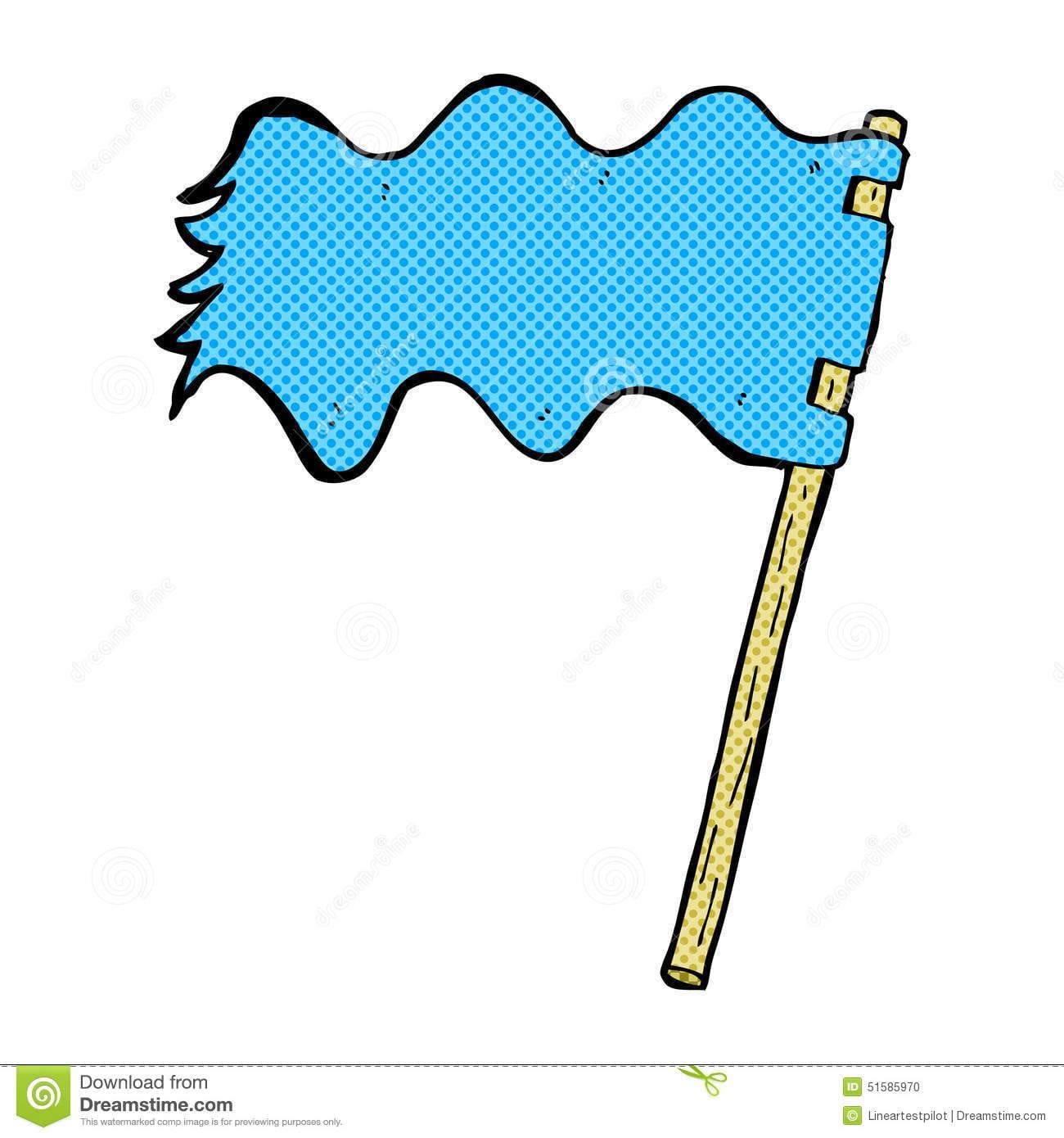 Bandeira Branca Dos Desenhos Animados Cômicos Foto De Stock
