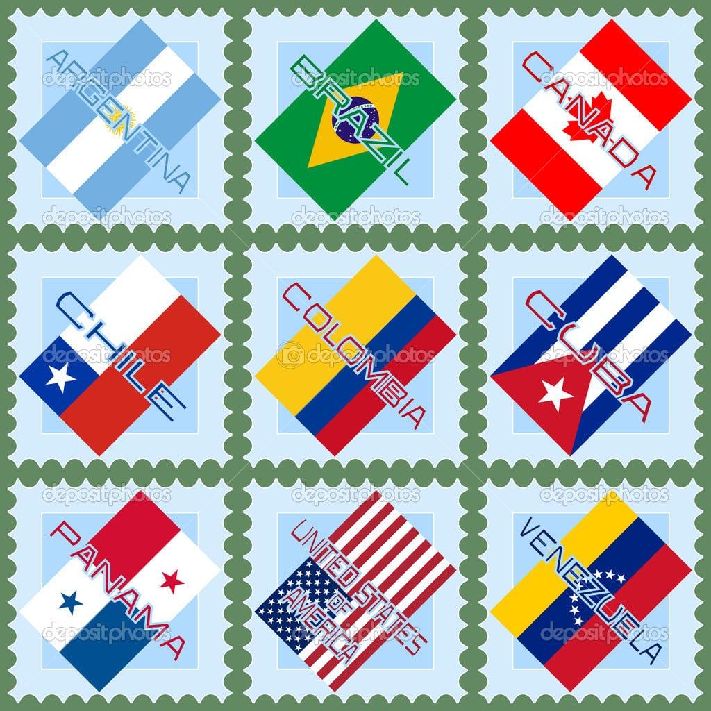 Bandeiras Dos Países Da América Do Norte E Do Sul — Vetor De Stock