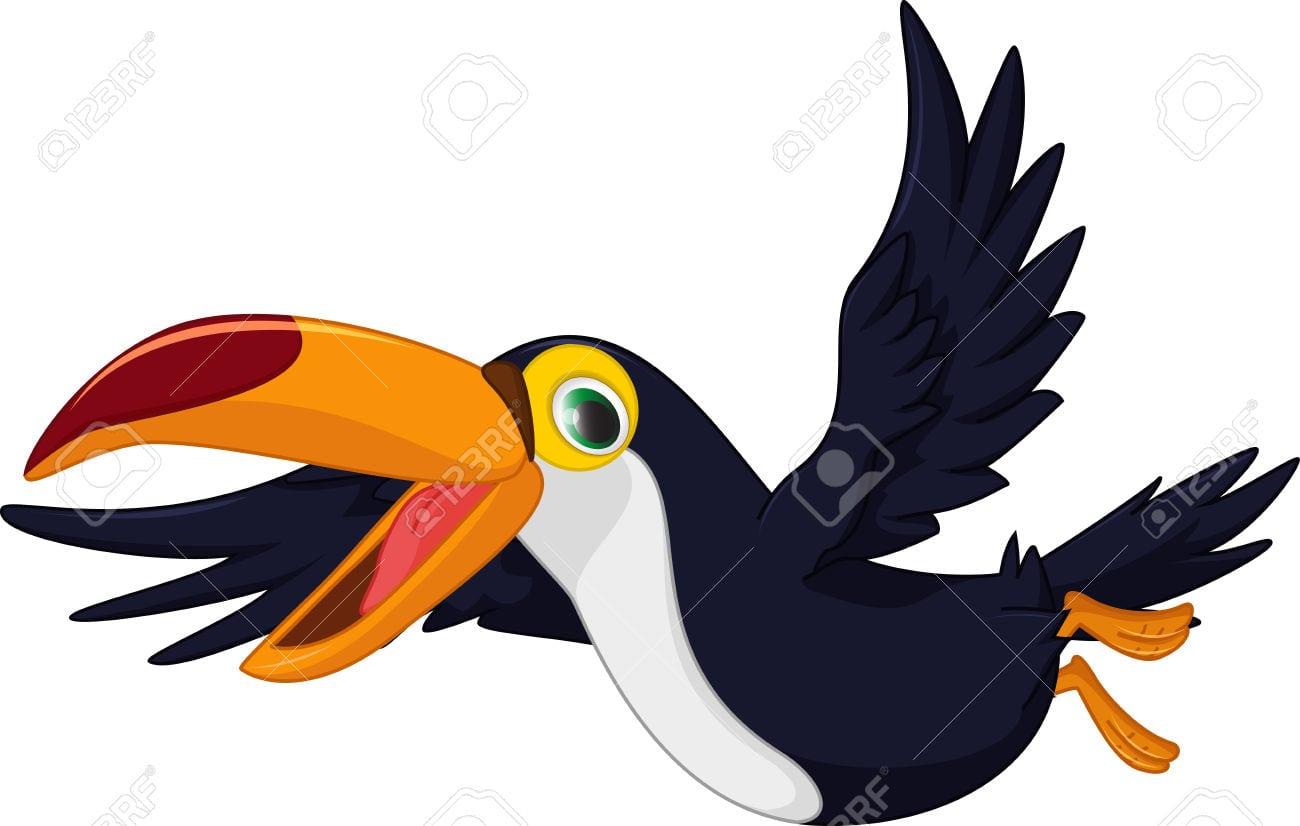 Bonito Dos Desenhos Animados Tucano Pássaro Voando Royalty Free
