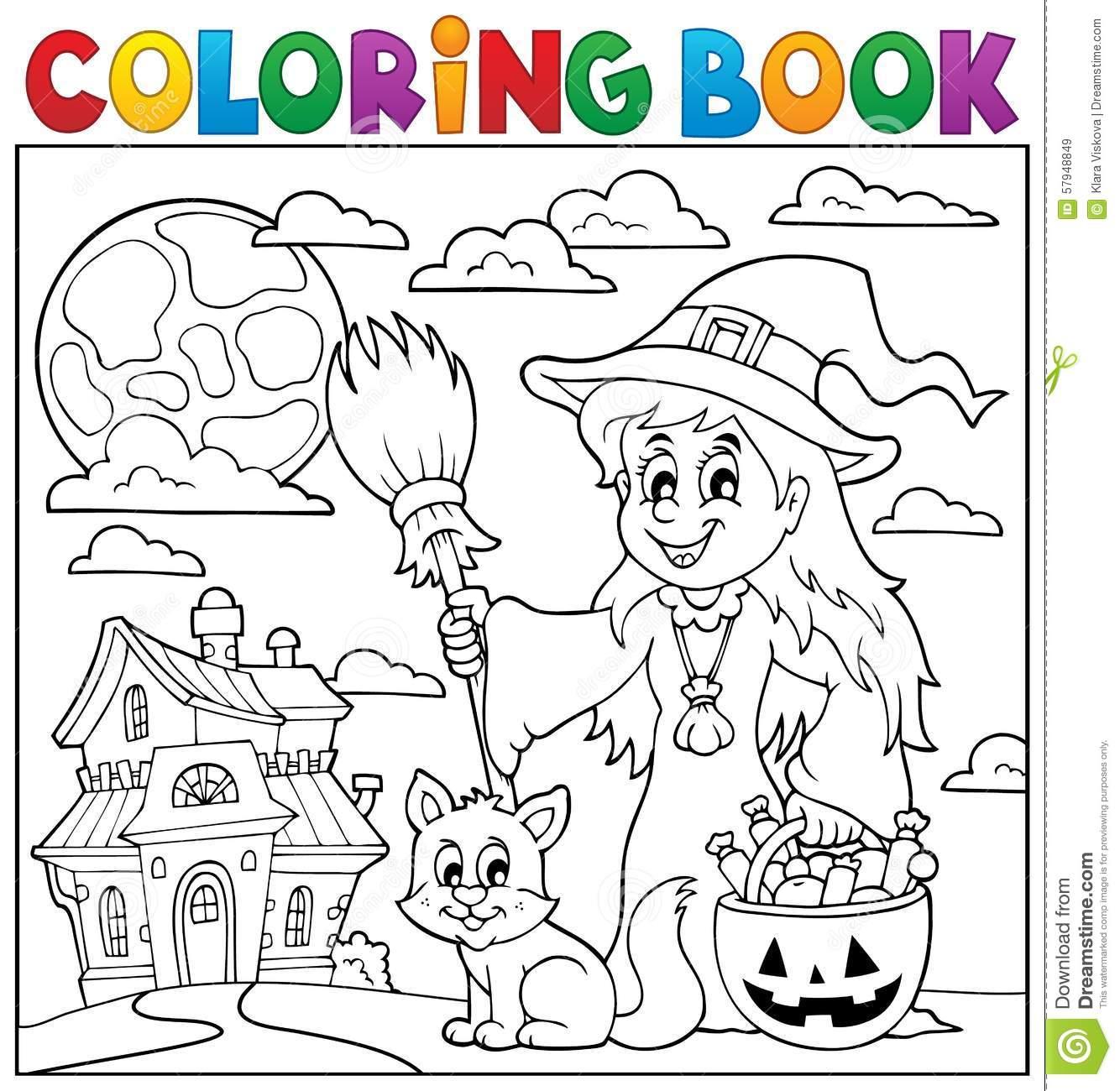 Bruxa Bonito E Gato Do Livro Para Colorir Ilustração Do Vetor