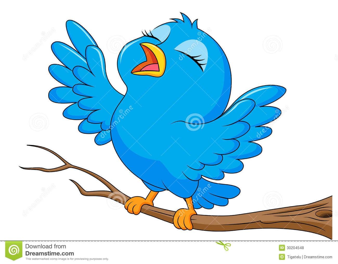Canto Azul Dos Desenhos Animados Do Pássaro Fotos De Stock Royalty