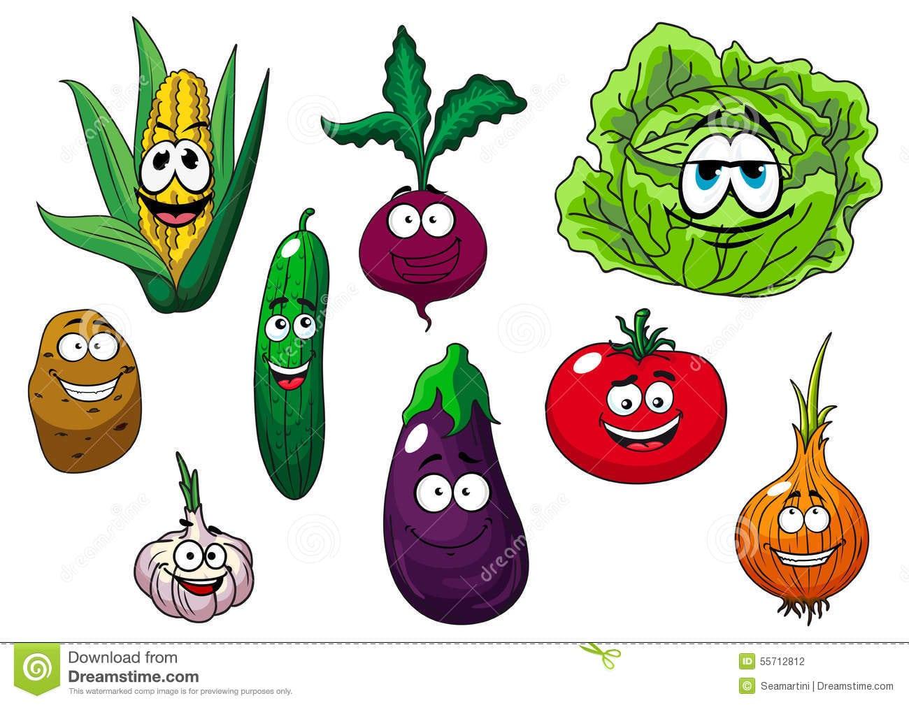 Caráteres Frescos Saudáveis Dos Vegetais Dos Desenhos Animados