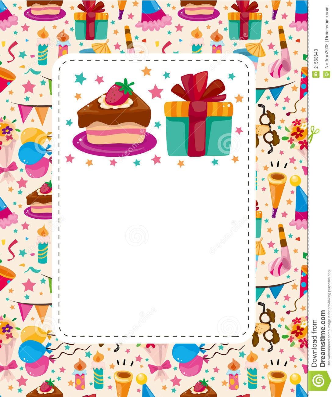 Cartão De Aniversário Dos Desenhos Animados Fotos De Stock