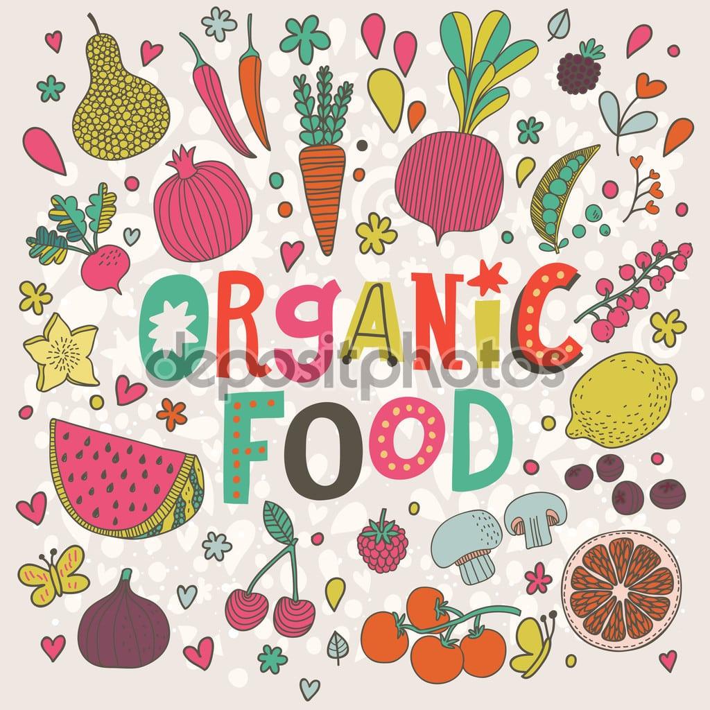Cartão Dos Desenhos Animados De Alimentos Orgânicos — Vetores De