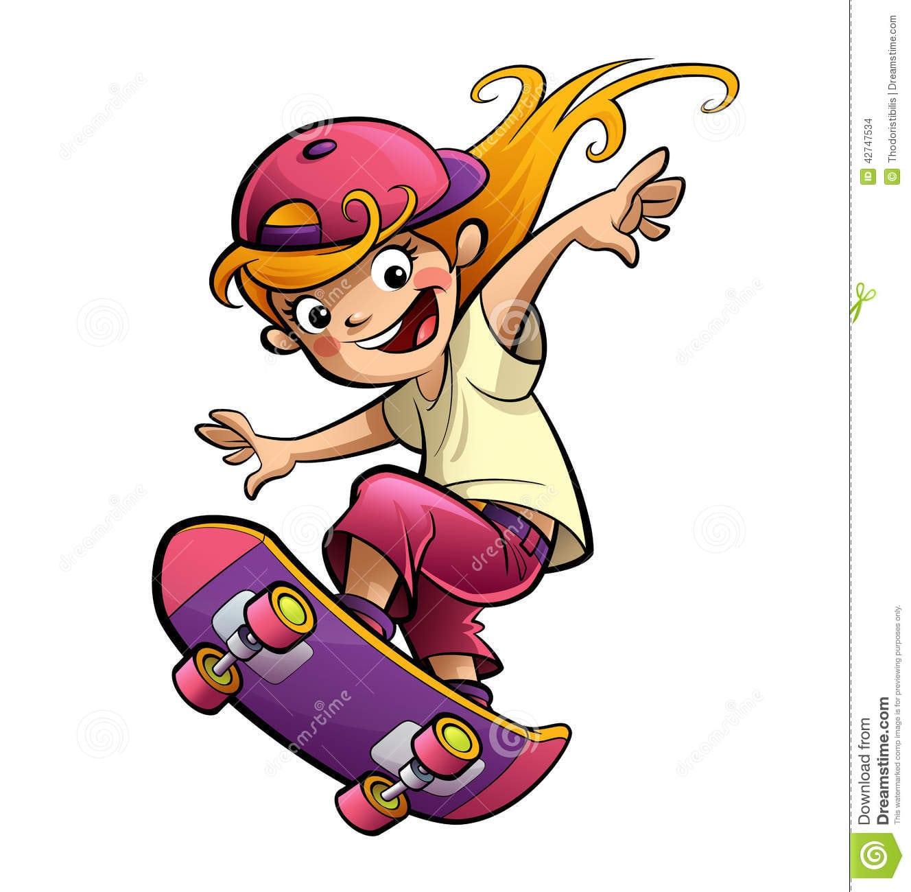 Cartoon Happy Smiling Kid Girl With Skateboard In Sport Mood Stock