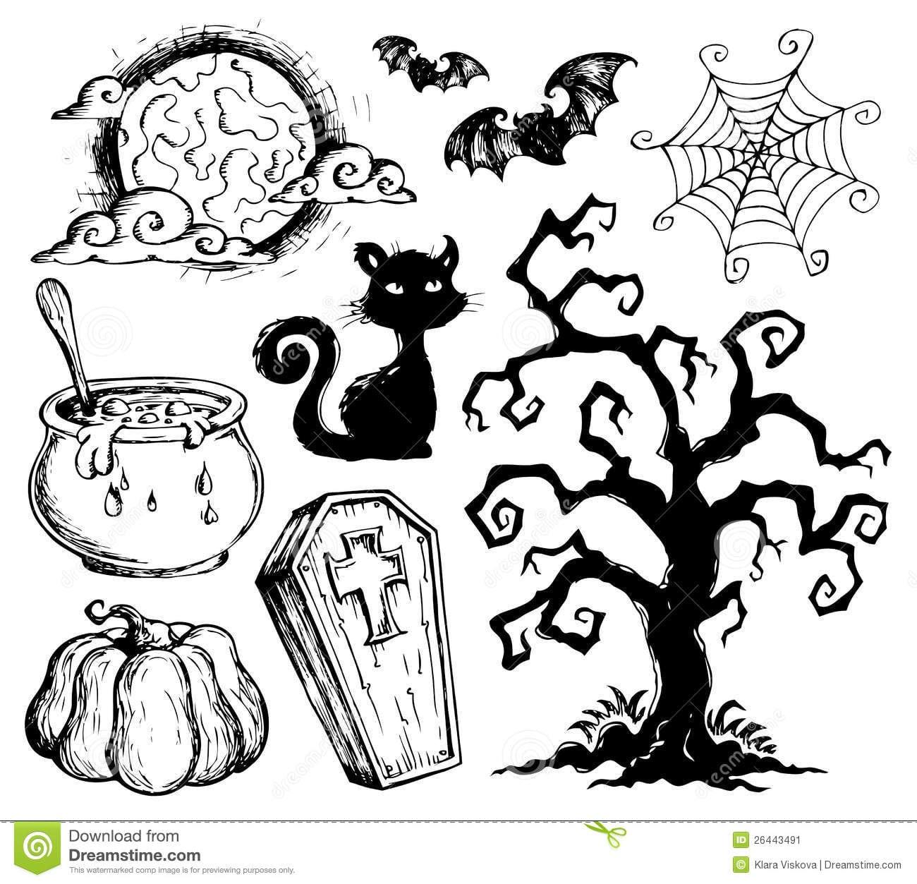 Coleção 2 Dos Desenhos De Halloween Imagem De Stock
