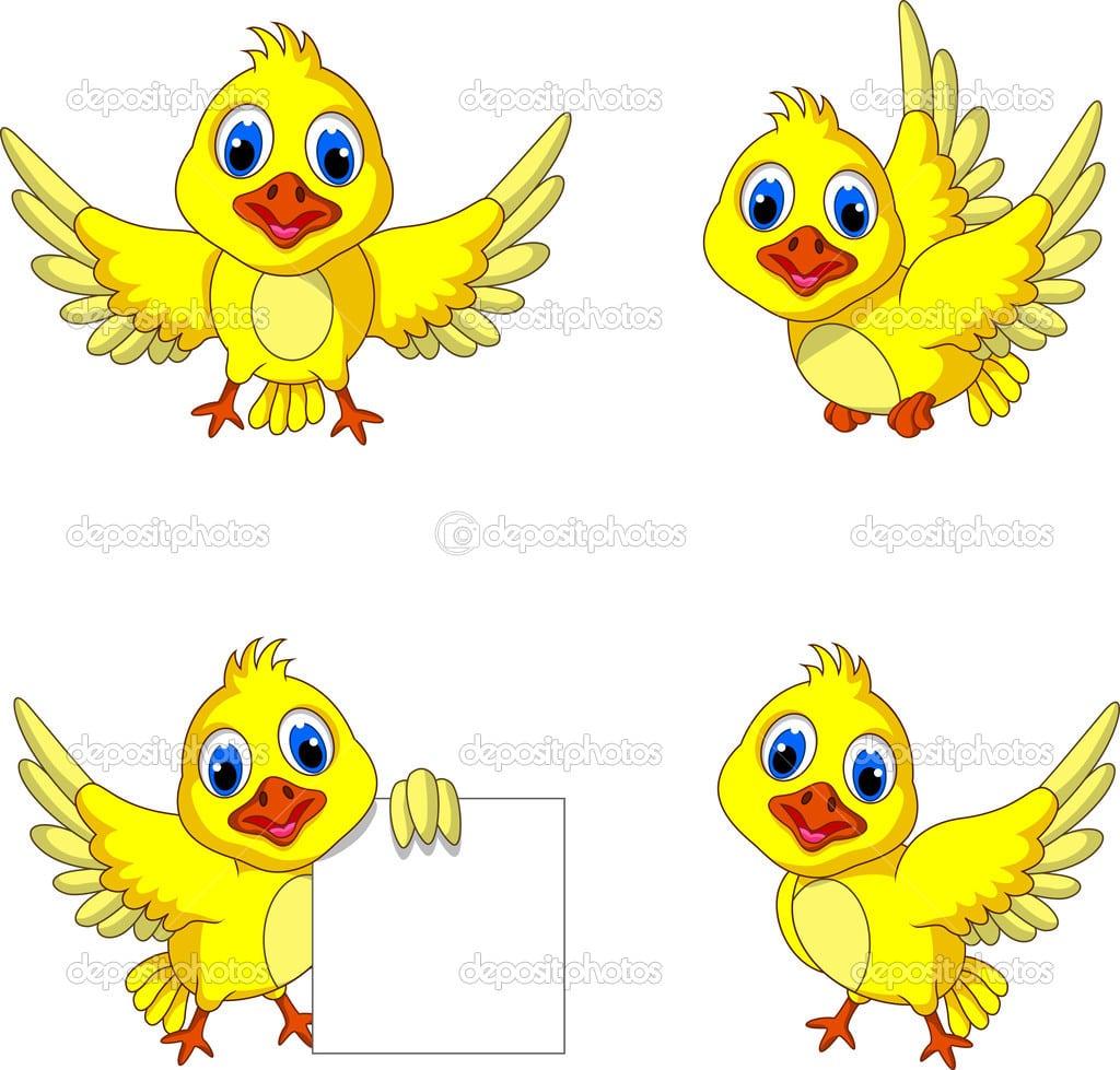 Coleção De Desenhos Animados Do Pássaro Amarelo Bonito — Vetor De