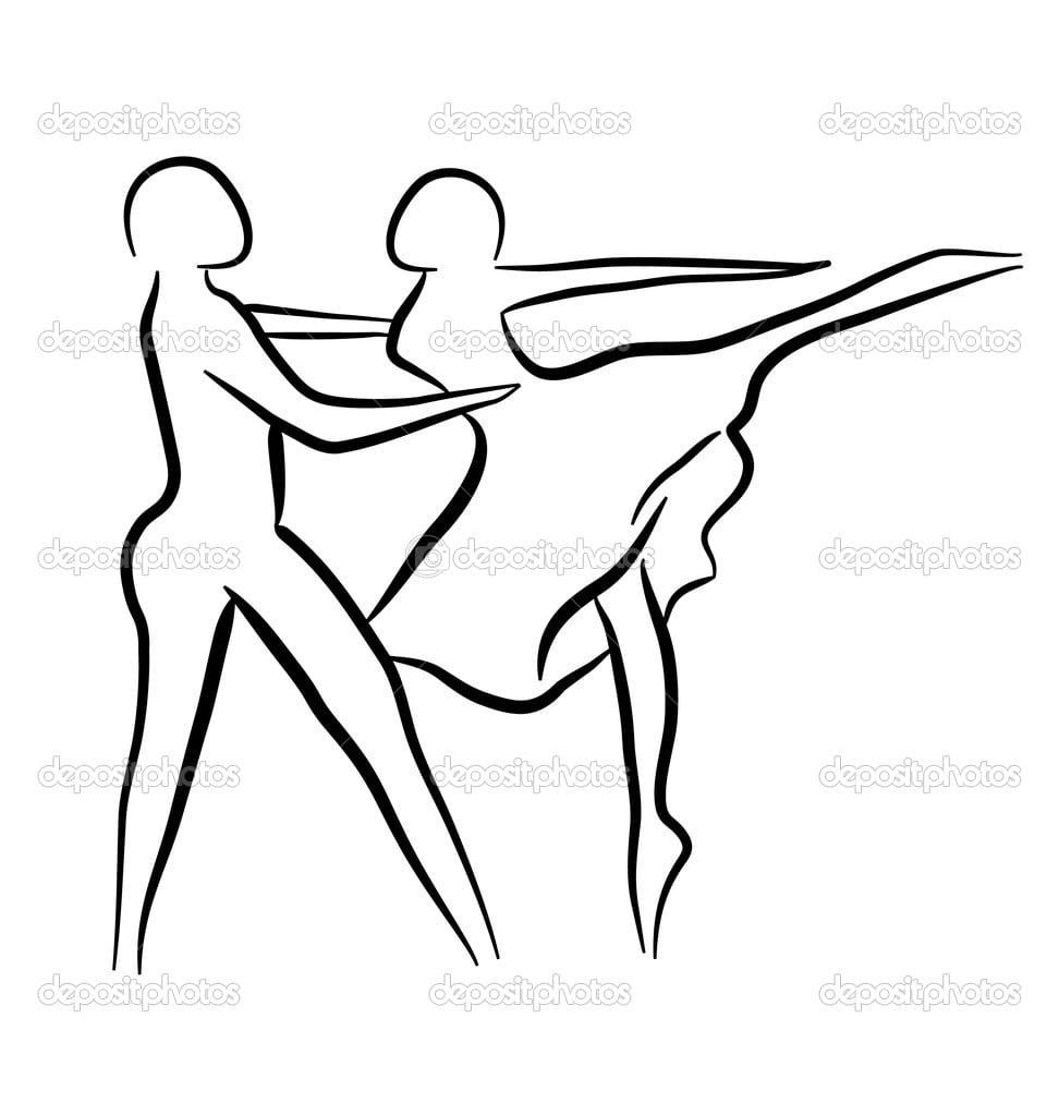 Conceito De Desenho Casal Dançando — Vetor De Stock © Deskcube