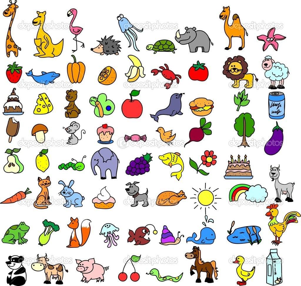 Ícones Dos Desenhos Animados De Animais, Alimentos — Vetor De