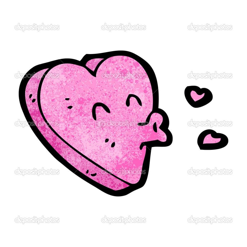 Coração Rosa Soprando Beijos Dos Desenhos Animados — Vetor De