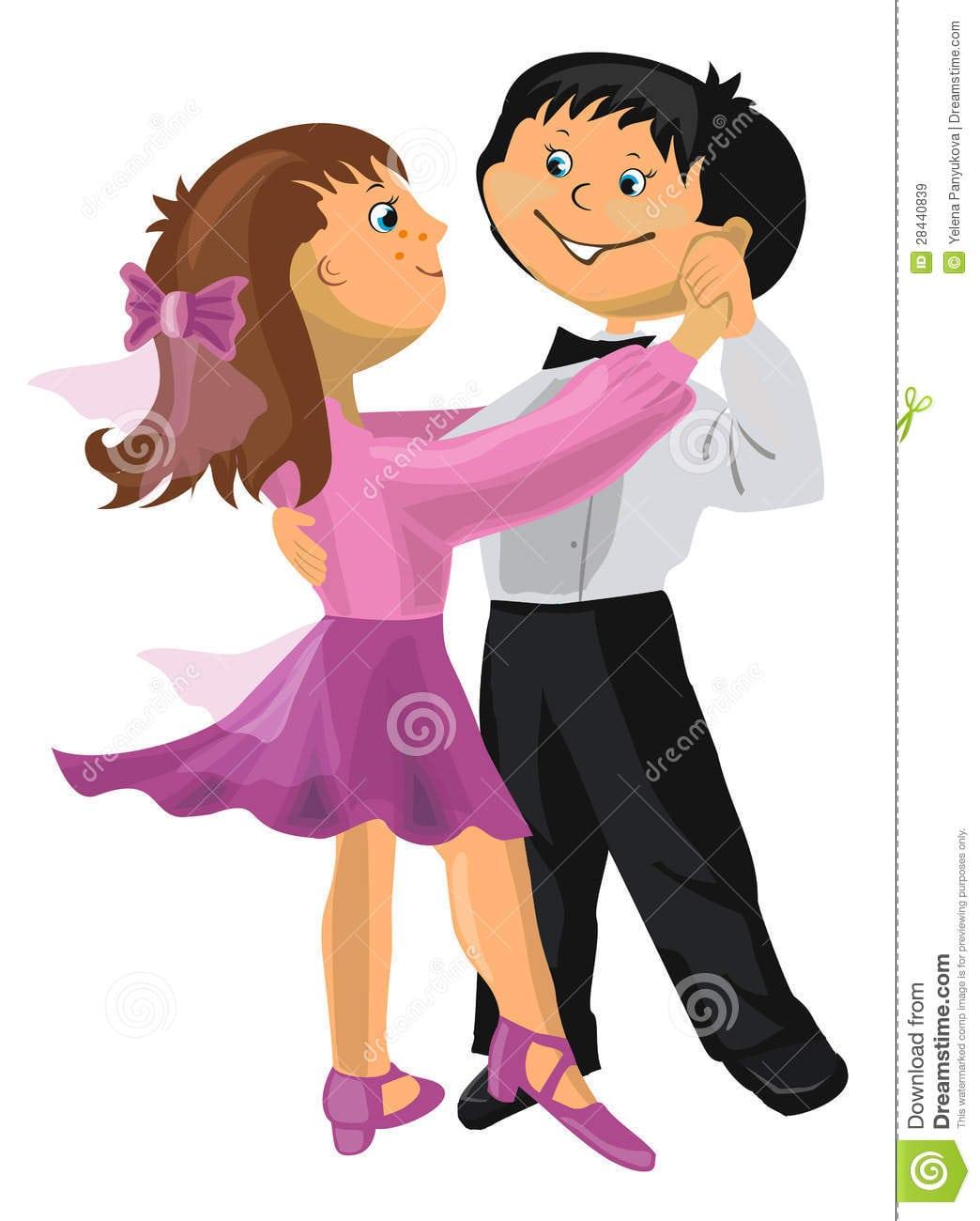Dança Do Menino E Da Menina Dos Desenhos Animados Imagens De Stock