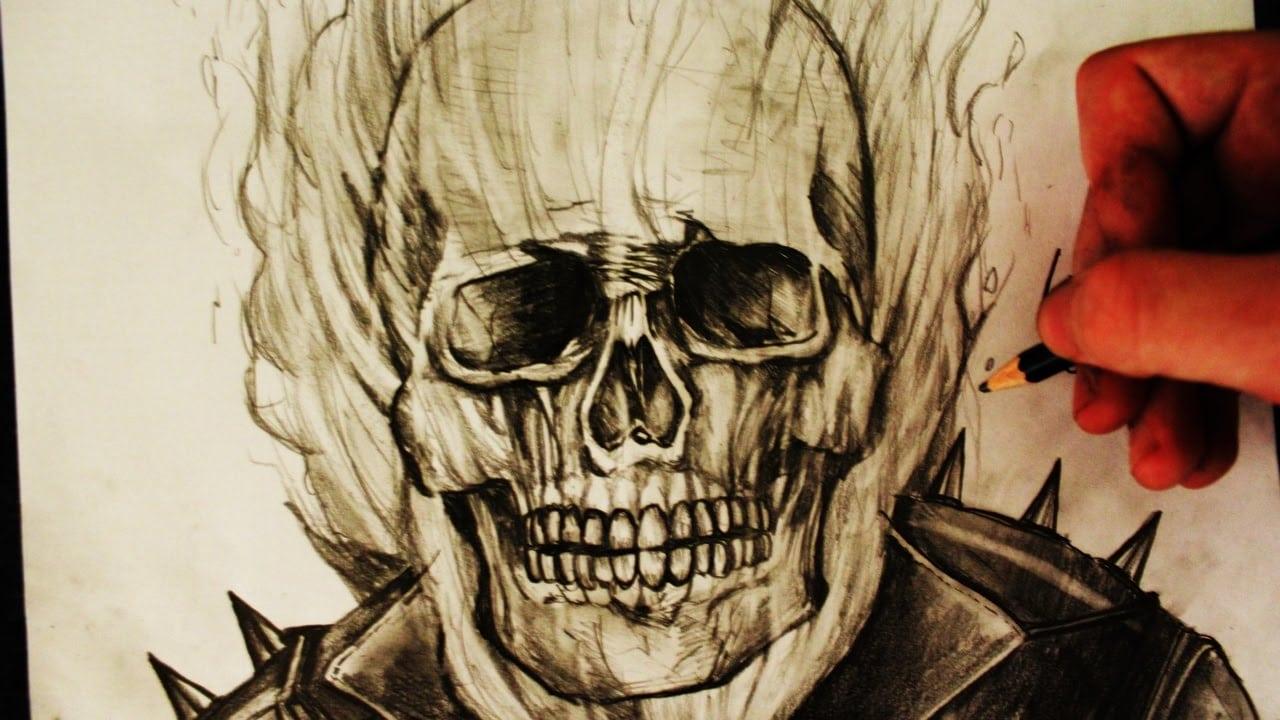 Desenhando O Motoqueiro Fantasma (drawing Ghost Rider)
