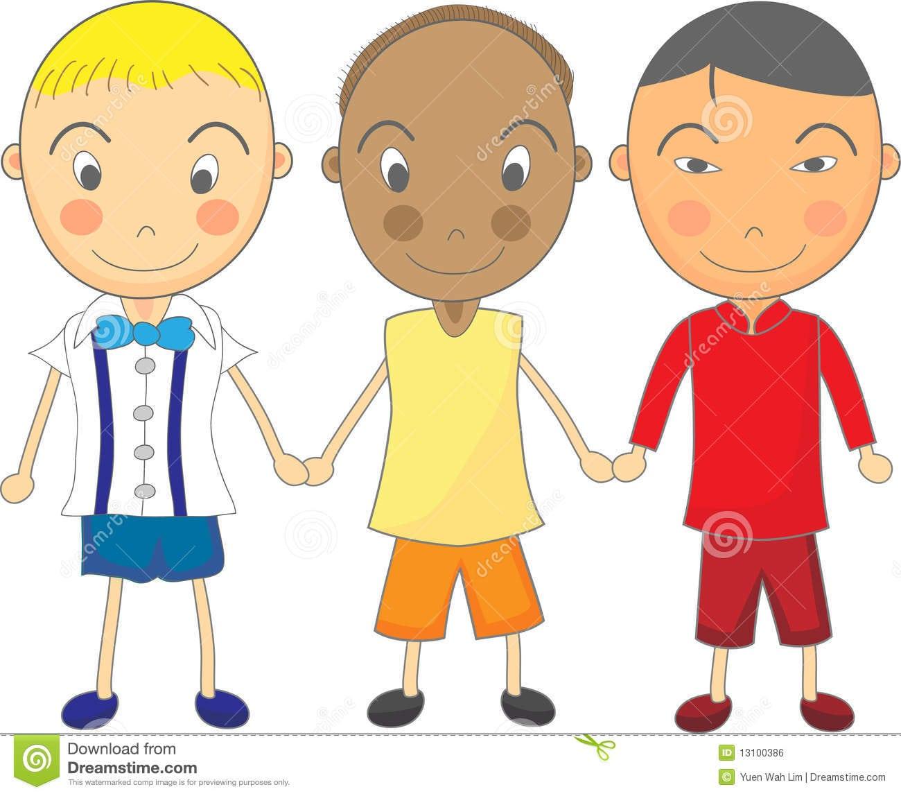 Desenho Bonito Da Criança Dos Meninos Multiracial Que Prendem Han