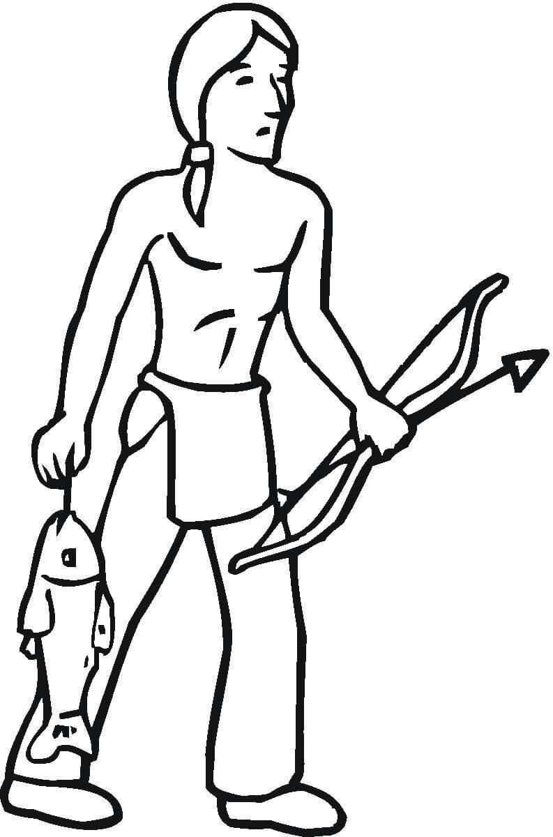 Desenho De Índio Pescando Para Colorir