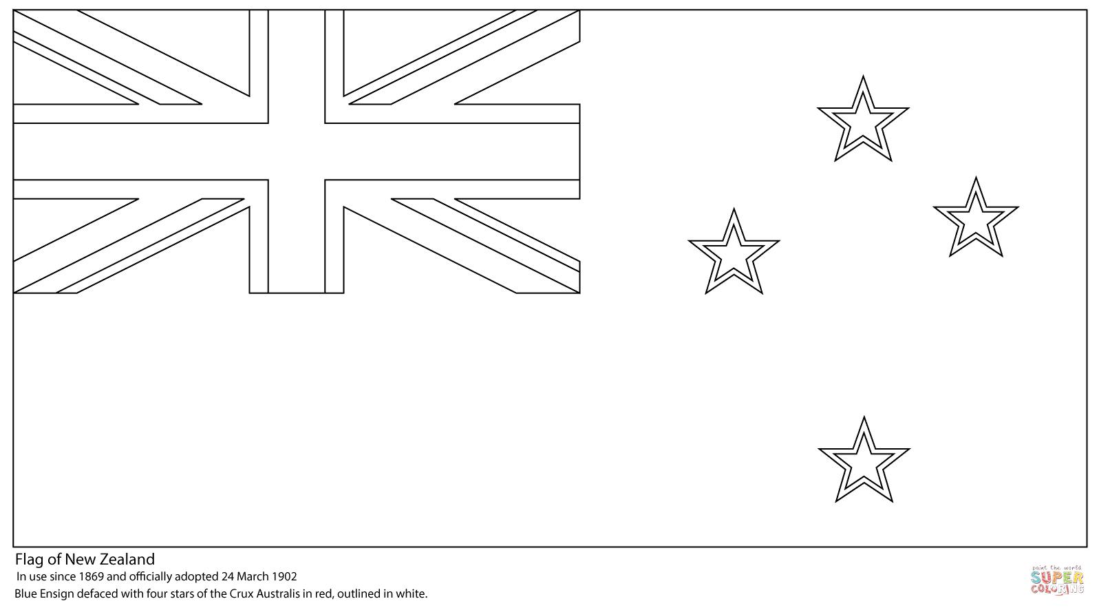 Desenho De Bandeira Da Nova Zelândia Para Colorir