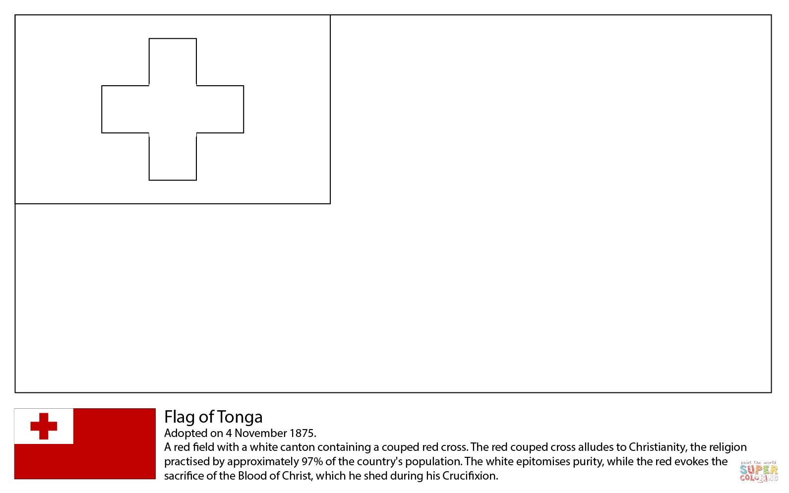 Desenho De Bandeira De Tonga Para Colorir