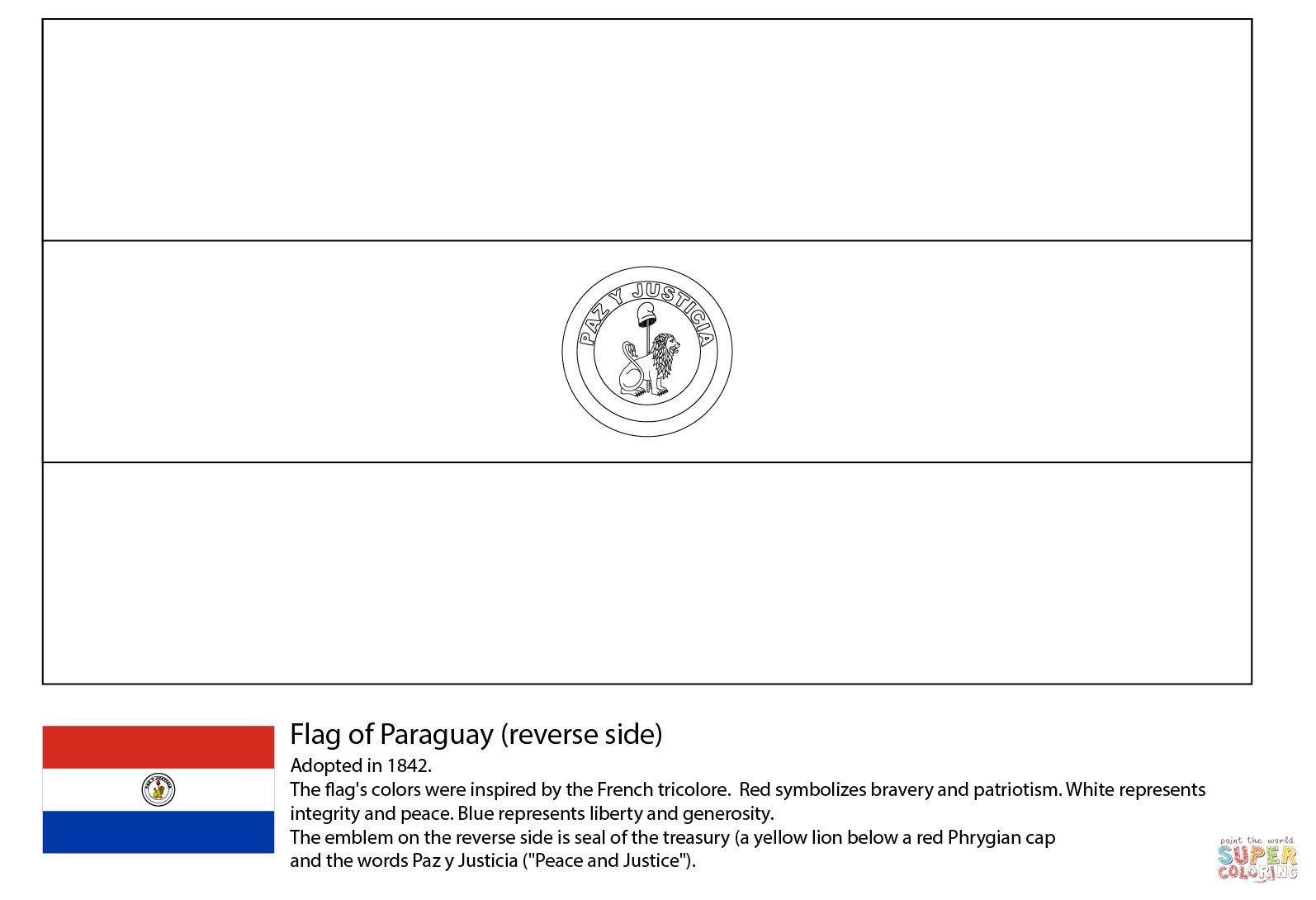 Desenho De Bandeira Do Paraguai (lado Inverso) Para Colorir