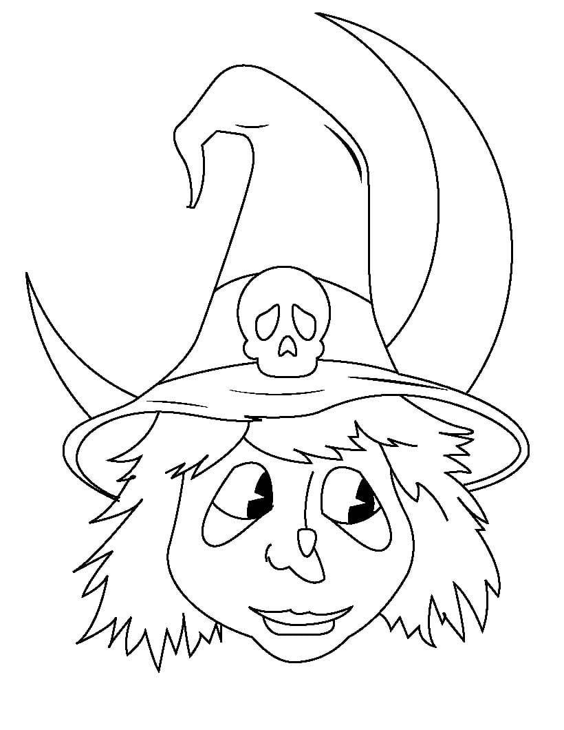 Desenho De Cabeça De Bruxa Para Colorir