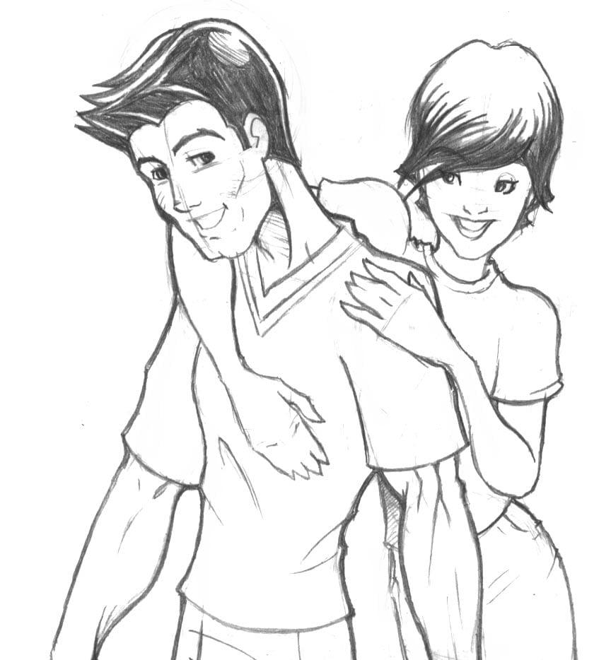 Desenho De Casal Apaixonados Sketch Coloring Page