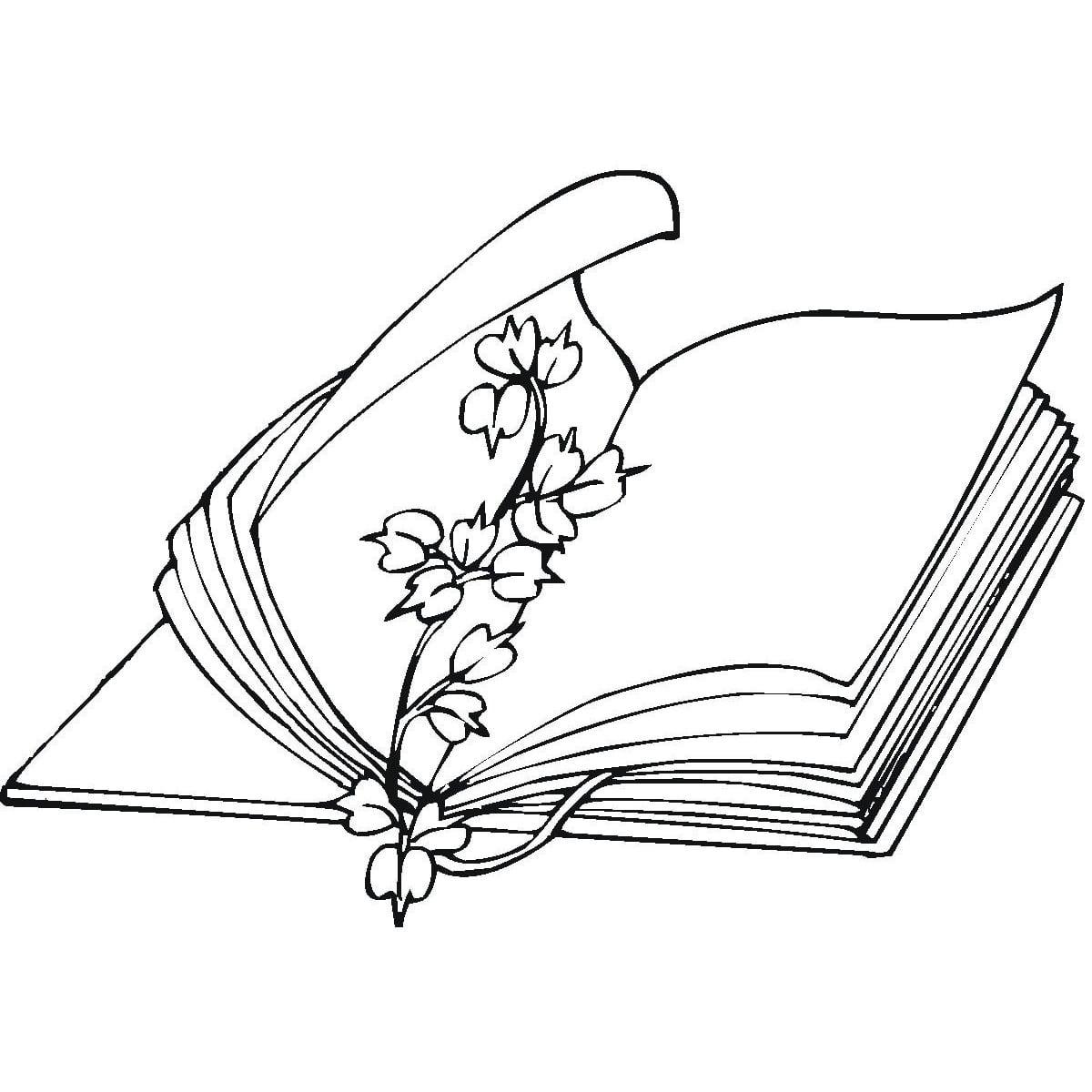 Desenho De Livro E Flores Para Colorir