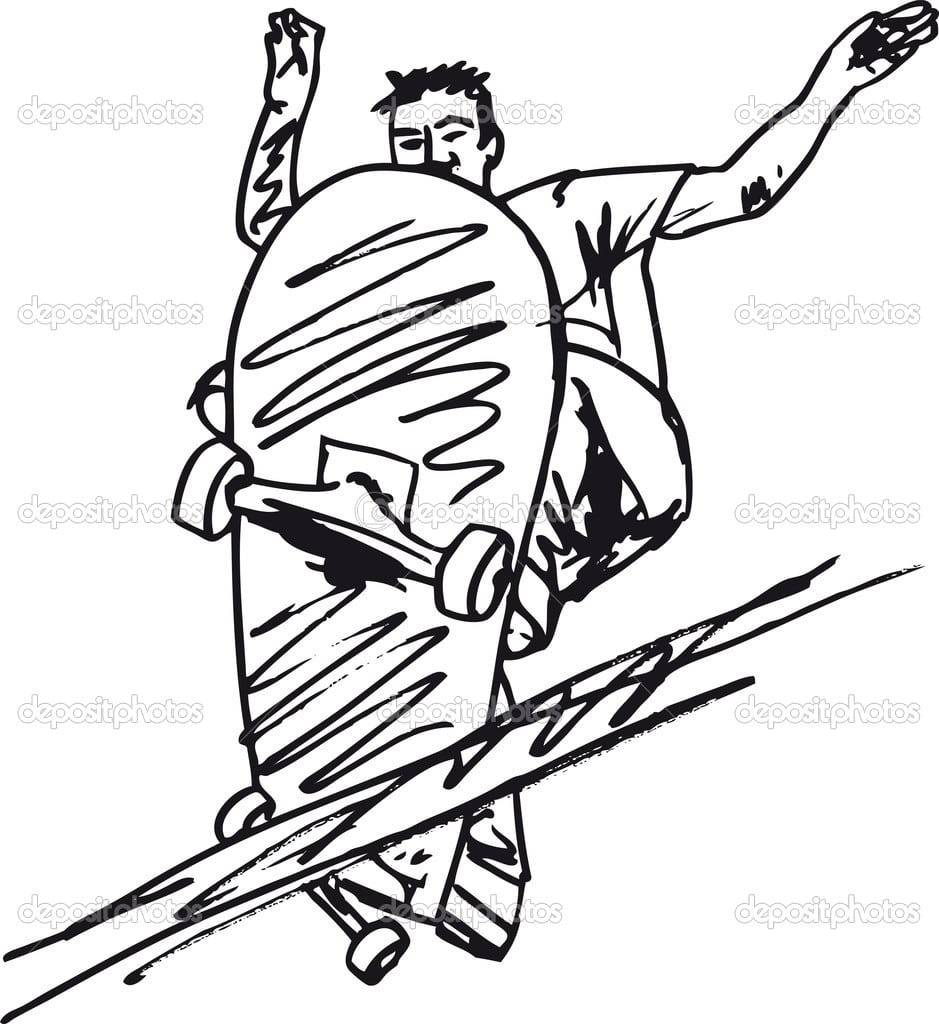 Desenho De Menino De Skate  Ilustração Vetorial — Vetores De Stock