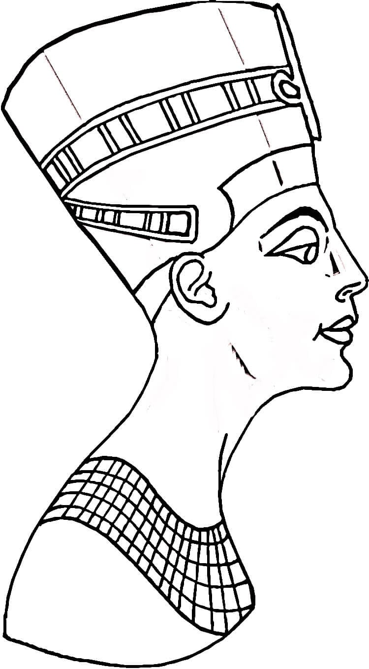 Desenho De Nefertiti Rainha Do Antigo Egito Para Colorir