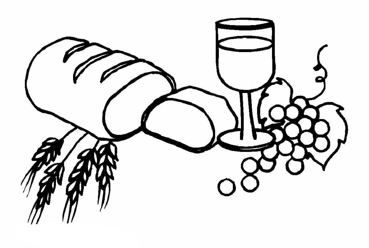 Desenho De Pão, Vinho E Uvas Para Colorir