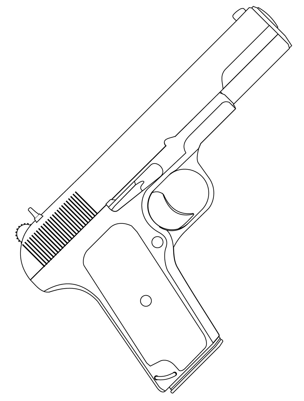 Desenho De Pistola Automática Para Colorir