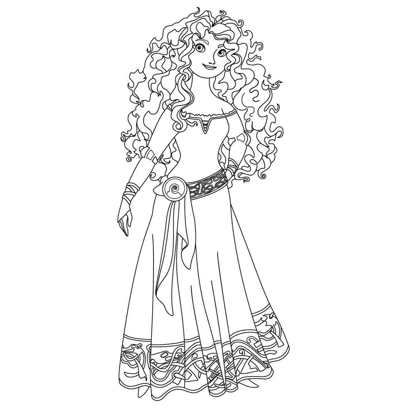 Desenho De Vestido Da Merida Para Colorir