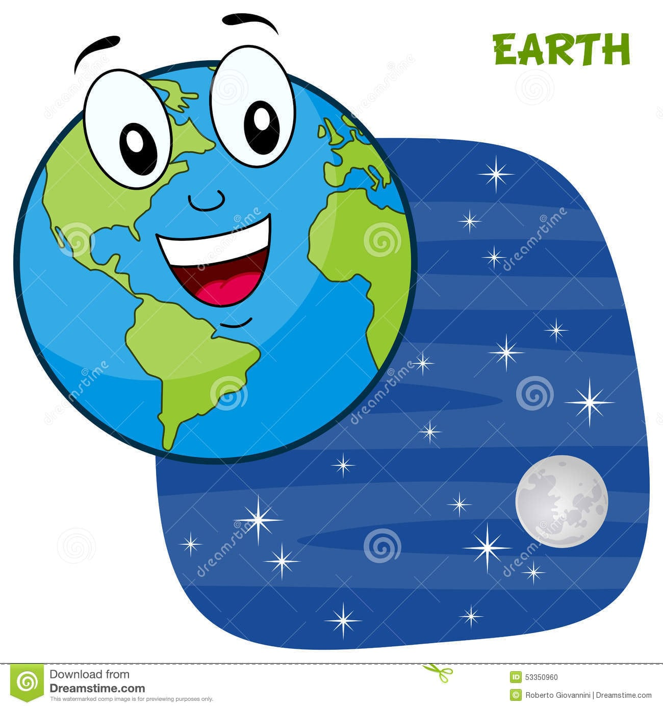 Desenhos Animados De Sorriso Da Terra Do Planeta Foto De Stock
