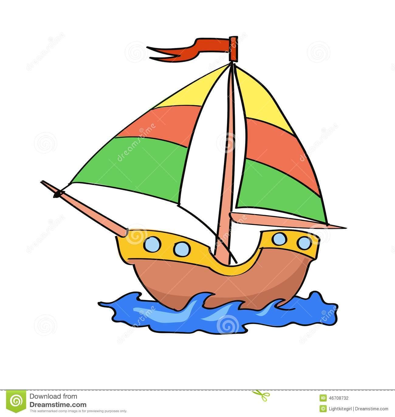 Desenhos Animados Do Barco Coloridos Em Um Fundo Branco Ilustração
