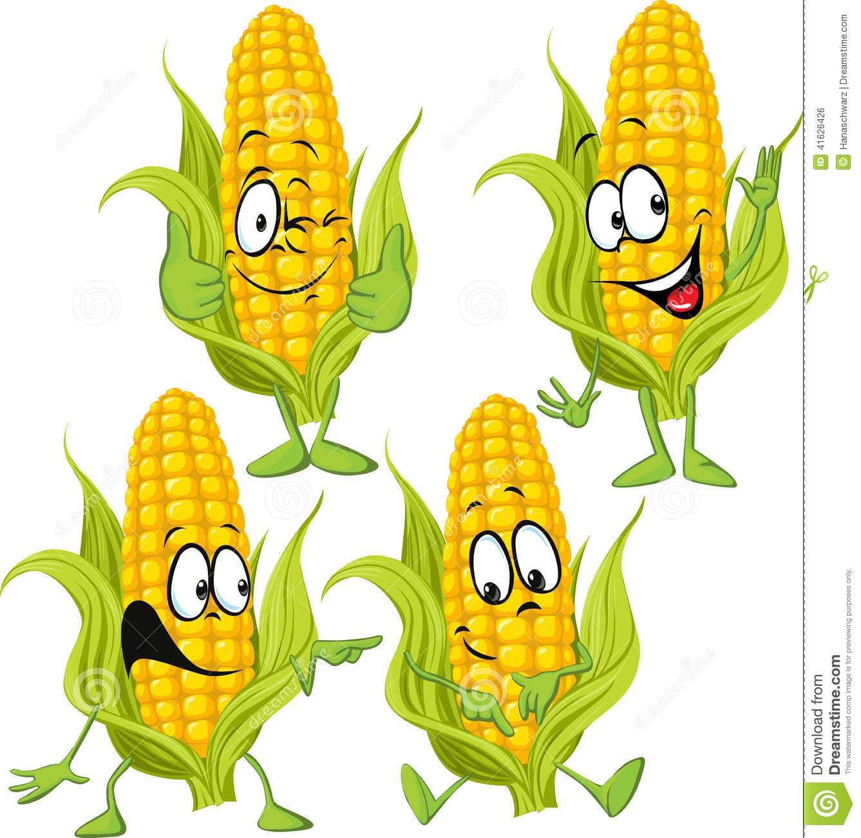 Desenhos Animados Do Milho Doce Com Mãos Ilustração Do Vetor