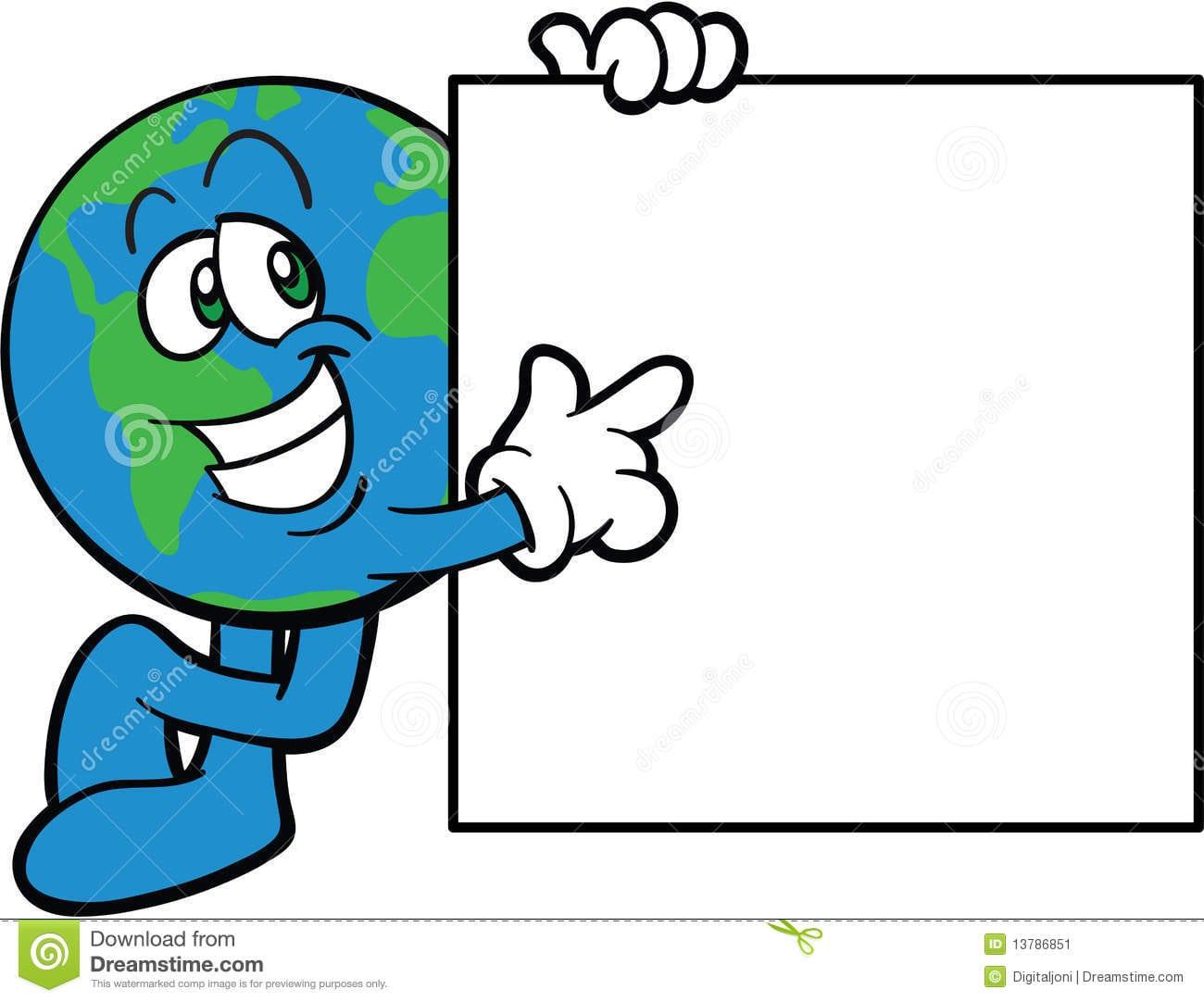 Desenhos Animados Felizes Do Sinal Da Terra Arrendada Da Terra Do