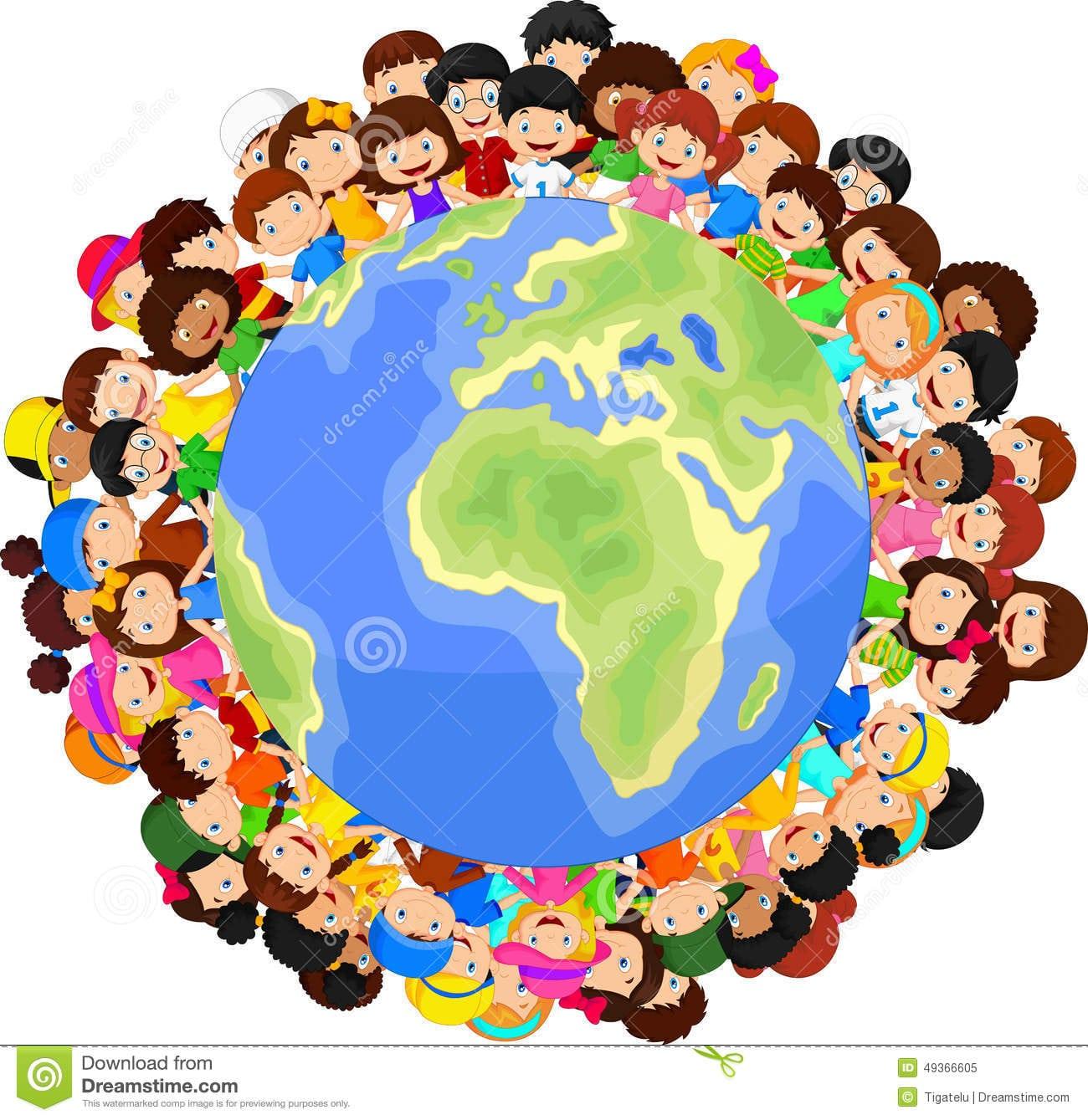 Desenhos Animados Multiculturais Das Crianças Na Terra Do Planeta