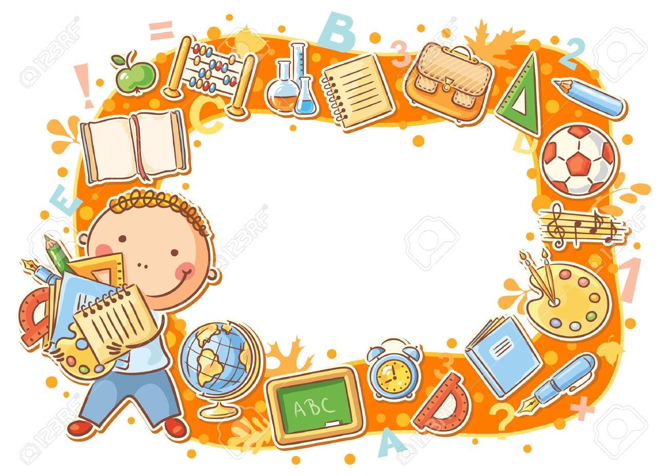 Desenhos Animados Quadro Estudante Com Lotes De Material Escolar