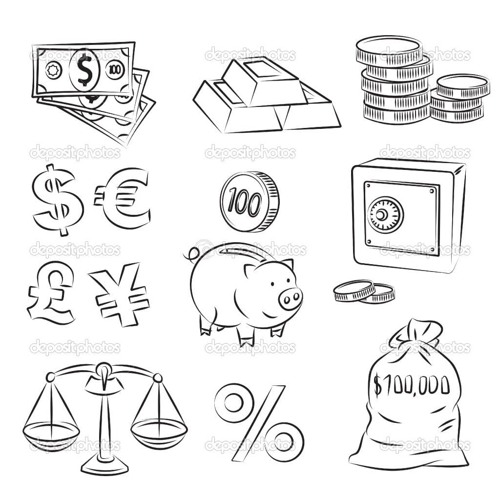Desenhos De Dinheiro Para Colorir