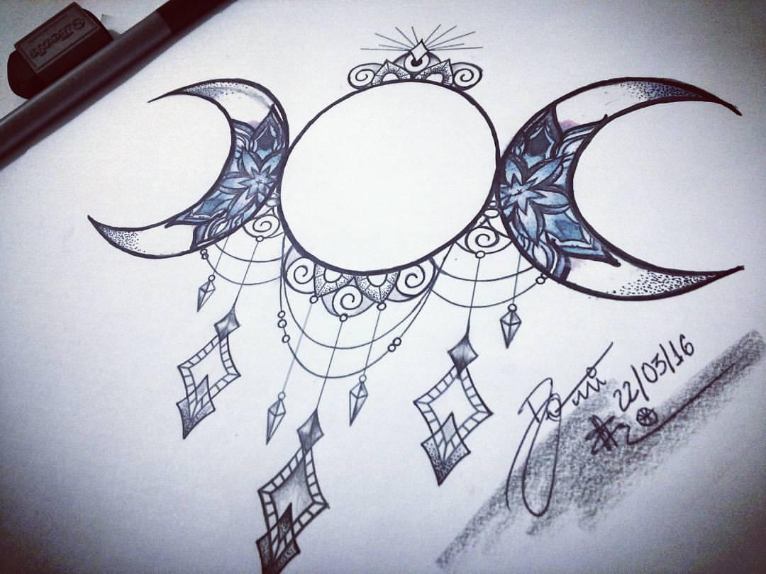 Domitila Clemente —  Lua  Moon  Ornaments  Drawing  Schets  Desenho