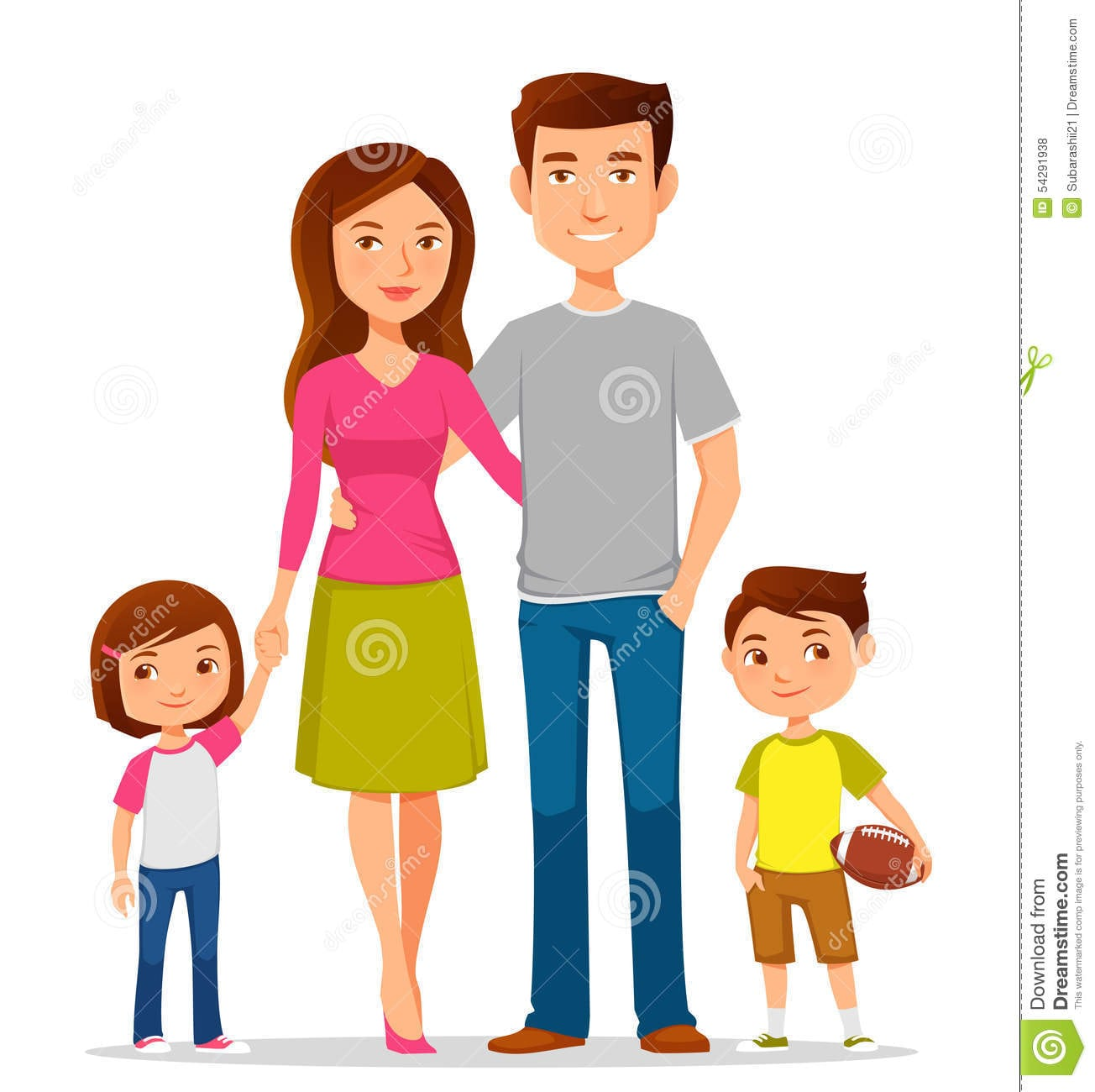 Família Dos Desenhos Animados Na Roupa Ocasional Colorida
