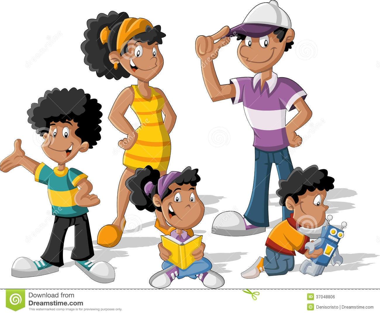 Família Preta Dos Desenhos Animados Imagem De Stock Royalty Free