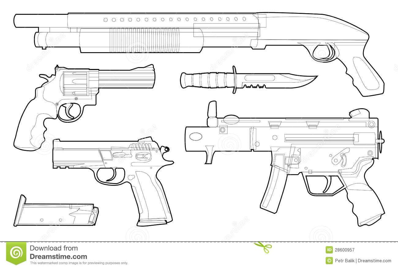 Grupo De Várias Armas Esboçadas Fotografia De Stock Royalty Free