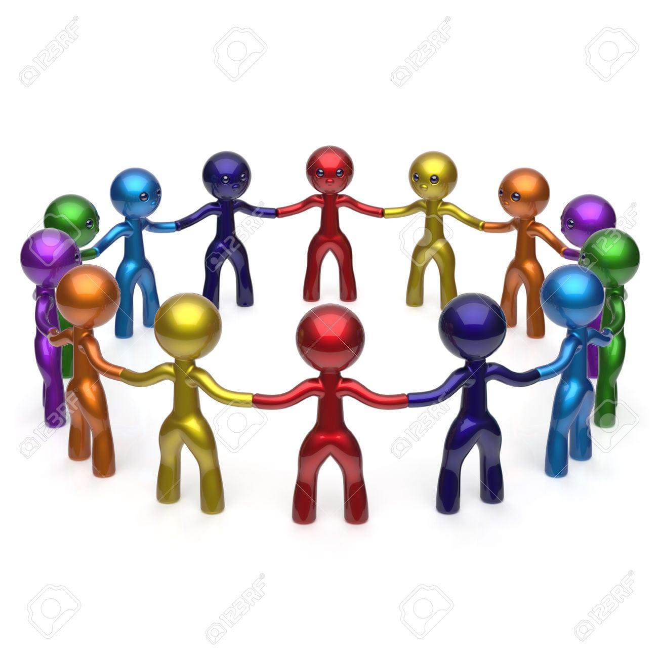 Homens Juntos Círculo Caracteres Rede Social Em Todo O Mundo As