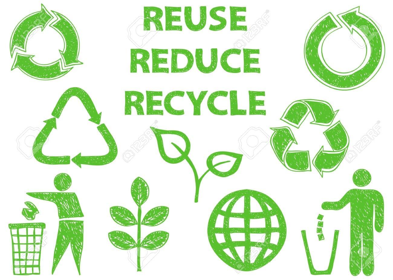 Ilustração Dos ícones Do Doodle De Reciclagem