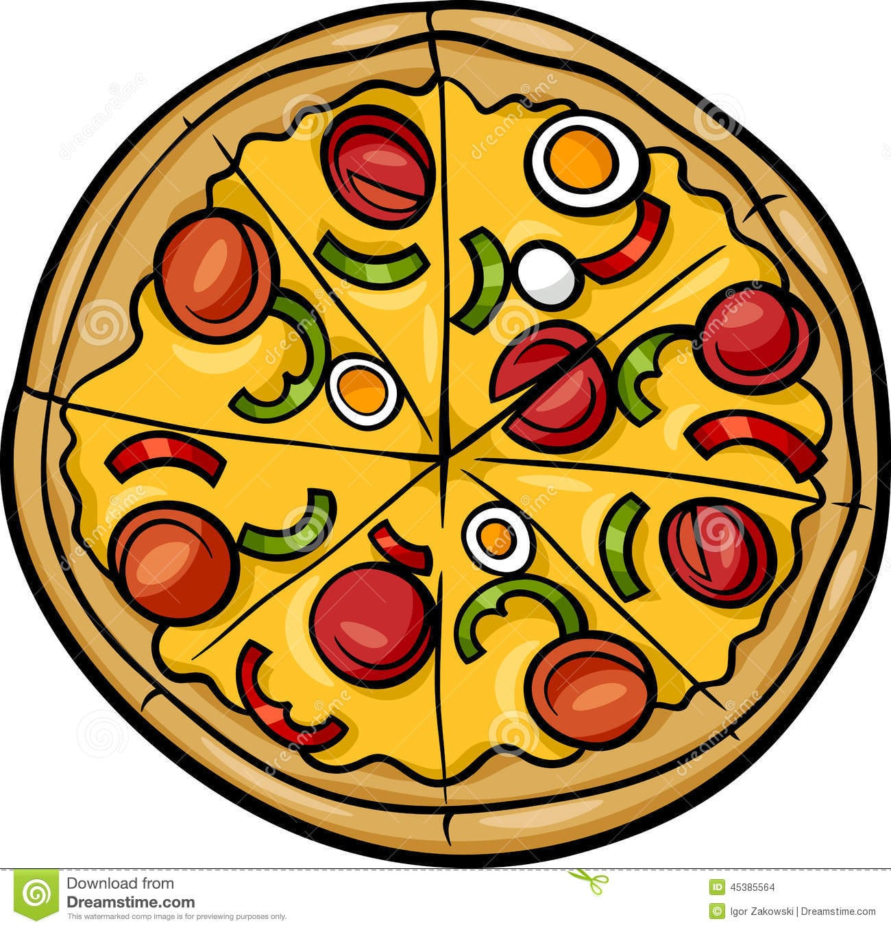 Ilustração Dos Desenhos Animados Da Pizza Fotos De Stock