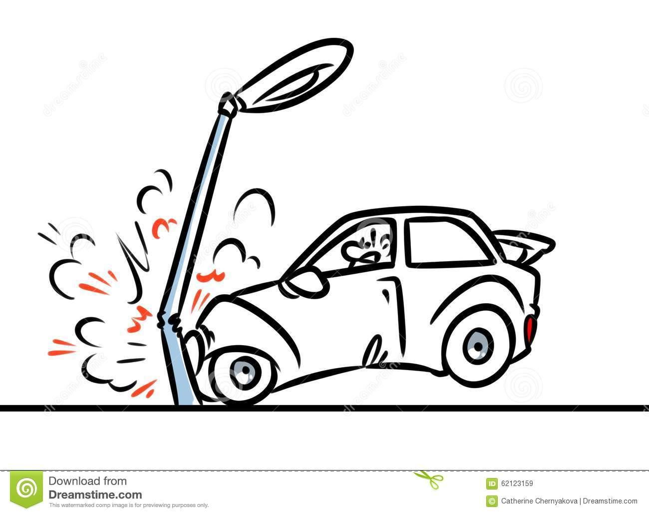 Ilustração Dos Desenhos Animados Do Acidente De Trânsito